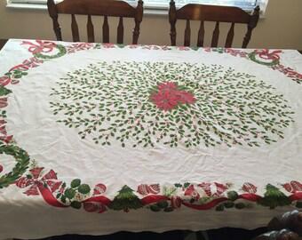 "Mid Century Christmas Tablecloth, 62"" x 52"""