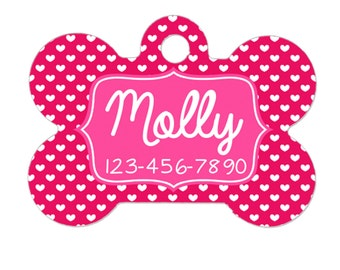 Pet Tag - Pet ID Tag - Personalized Pet Tag - Custom Pet Name Tag - Pink Heart Pet ID Tag