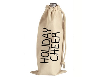 Holiday Cheer Wine Tote - Holiday Canvas Wine Gift Bag