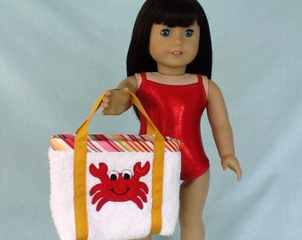 Red Sparkly Bathing Suit and Crab Beach Bag for American Girl/18 Inch Doll
