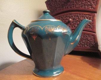 Hall Green & Gold Teapot