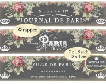 Wrapper Chalkboard Paris Soap Savon French France printable Strips Instant Download digital collage sheet E164
