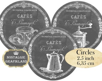 Circle 2.5 inch Grey Shabby Cafe Instant Download digital collage sheet C150 Circles chalkboard cafe coffee teacup
