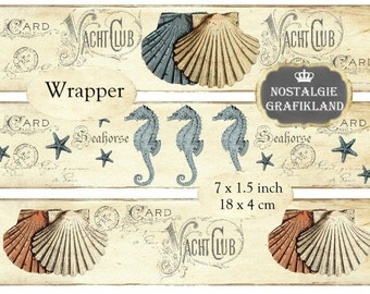 Wrapper Nautical Sea Shell Seahorse Ocean Maritime Soap Packaging Strips printable Instant Download digital collage sheet E065