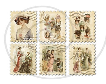 Fake stamps. Old postage stamps. Vintage digital stamps. Postage stamp art. Digital collage sheet. Victorian ladies. Instant download PNG