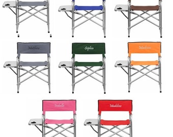Personalized Camping Chair With Table and Cup Holder - Embroidered Folding Chair
