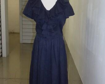 Vintage 50s Black Ruffle Dress