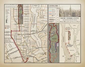 NYC Half Marathon vintage inspired running route map