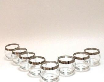 8 Small Dorothy Thorpe Style Silver Rimmed Roly Poly Glasses