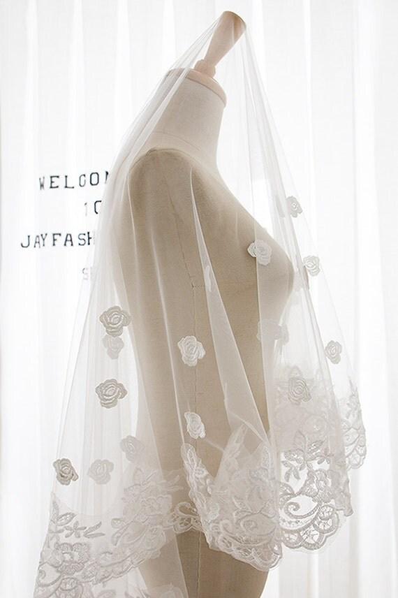 Fashion Lace Bridal Veil, Long Wedding Veil, New Bridal Veil Cathedral Ivory Lace Appliques Veil, Bridal Wedding Veil