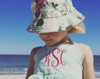 Monogrammed Bucket Hat, Personalized Beach Hat, Embroidered Toddler Hat, Personalized Bucket Hat, Monogram Beach Hat, Sun Hat, Beach Hat