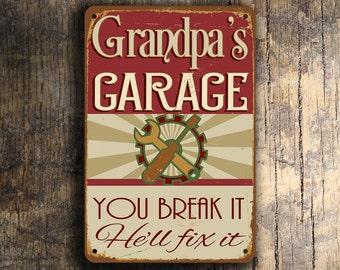 GRANDPAS GARAGE SIGN, Grandpas Garage Signs, Vintage style Grandpas Garage Sign, Grandpas Garage , Grandpa Gift, Gift for Grandpa, Grandpa