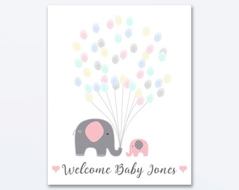 Baby Shower Fingerprint Guest Book - Elephant Baby Shower - Personalized Alternative Guest Book - Fingerprint Tree - Pink Elephant