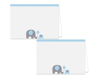 Baby Shower Food Tent Labels - Elephant Baby Shower Food Tents - Printable Food Labels - Elephant Place Cards - Blue Food Labels - Elephant