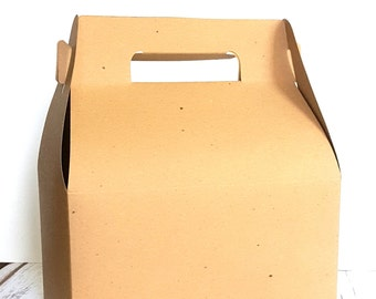"5 Large Kraft Brown Gable Gift Boxes, Wedding Guest Welcome Box, Party Favor Box, 9"" x 5"" x 5"""