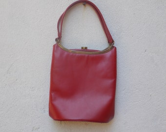 Vintage Red Leather Handbag Purse
