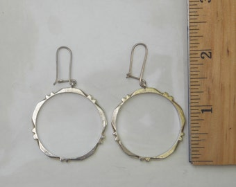 Large Sterling Silver Circle Hoop Earrings, 925 Mexican Silver
