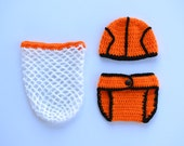 Handmade crochet baby basketball set; beanie; diaper cover; net cocoon; baby hat; baby photography prop; baby shower gift