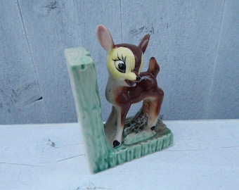 Disney Bambi Deer Fawn Ceramic Bookend - Mid Century Disneyana Collectible - Bambi Collectible - Childs Room Bookshelf - Baby ShowerGift