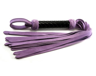 Lavender Suede Classic Flogger - Black Braided Handle