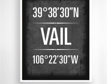 "Vail, Colorado, Geographic Coordinate Print,  8"" x 10"" or 11"" x14"""