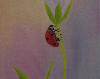 "Ladybug Oil Painting, Ladybug Painting, Bug, Original Oil Painting, Flower - ""Spring Lady"" (9"" x 12"")"