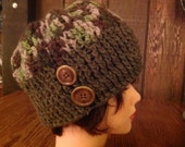 Crochet Wool Camo Cloche Beanie Hat