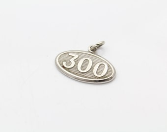 Vintage Silver Oval 300 Pendant or Charm in Sterling Silver. [10840]