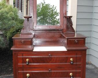 SOLD******Victorian Eastlake Antique Dresser w/ Mirror