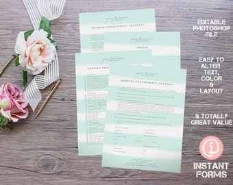 Wedding Photography Contract and Forms - IF145 - INSTANT DOWNLOAD. You'll receive 4 psd files