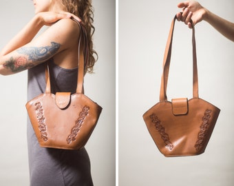 30% OFF Original KANZ brand leather bag / Vintage Tooled leather bag / Oktoberfest Austrian Folk leather purse handbag clutch leather Artisa
