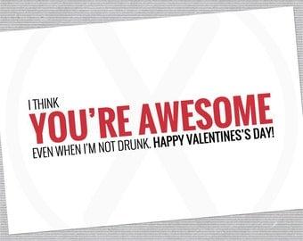 Funny Valentine Card - Printable Valentines day Card - PDF file.