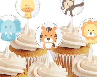 Safari cupcake toppers, to decor your baby shower. You can also use them as stickers or hanging tags - Printable PDF file.