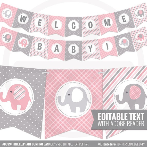 pink and grey elephants baby shower bunting banner digital bunting