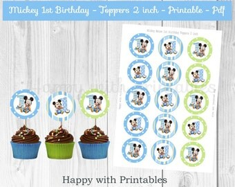 Mickey Mouse 1st bday Toppers - Mickey Mouse toppers 2 inch - 1st bday toppers - Mickey Mouse party - Mickey Mouse 1st birthday cake toppers