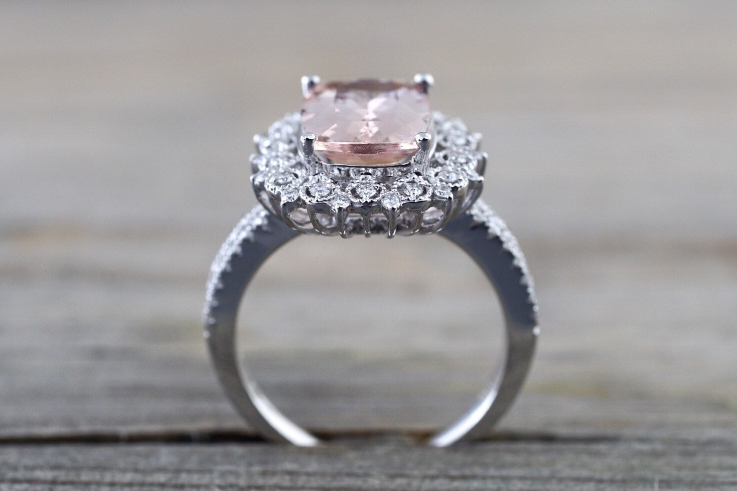 18k White Gold Elongated Cushion Cut Morganite Pink Diamond Halo Engagement R