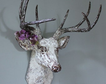 Faux Taxidermy Deer Stag Buck Head Wall Decor Vintage White Bronze Rustic Trophy Animal Antler Art Bedroom Kitchen Sculpture-MySecretLite