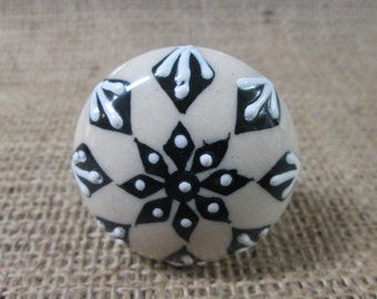 Drawer knobs. Black and white drawer knobs. Ceramic drawer knobs.