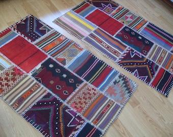 "free shipping twins VINTAGE PATCHWORK KILIM rug size = 36"" X 60"" ( 95 cm X 150 cm )"