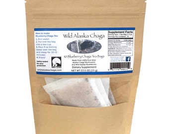 Wild Alaska Blueberry Chaga Tea Bags