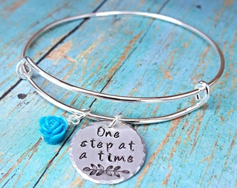 One Step at a Time - Recovery Jewelry - Sobriety - AA - Addiction Recovery - 12 Steps -Sobriety Gift -Motivational Jewelry -Alcohol Recovery