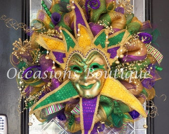 Mardi Gras Wreath, Mardi Gras Decoration, Door Hanger, Front door wreath, Wreath for Front door, Deco Mesh Wreaths, Made to Order