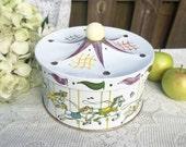 Delightful Carousel Merry-Go-Round Tin box, Horses, Guildcraft, Circus Tent, Decorative Nursery decor, vanity, trinket, storage, biscuit