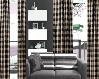 High Quality Buffalo Check Curtains SALE U003e Custom Made Drapes From Small Window Curtains  Through 19 Ft Long