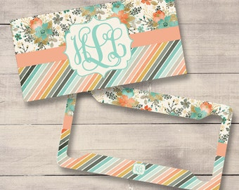 Peach and Mint License Plate and Frame, Personalized for Teenage Girls, Monogram Car Tag (0007)