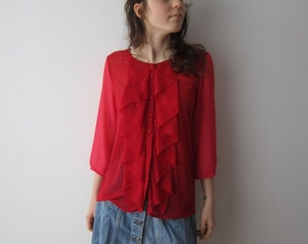 ON SALE Hot Red Blouse 3/4 Sleeve Boho Festival Blouse Bright Red Pink Sheer Romantic Top Formal Ruffle Shirt Size Small