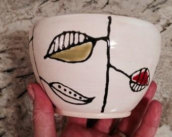 Mid Century Designed White Leaf Bowl