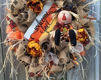Fall Wreath, Autumn Wreath, Scarecrow Wreath, Halloween Wreath, Burlap Wreath, Pumpkin Wreath