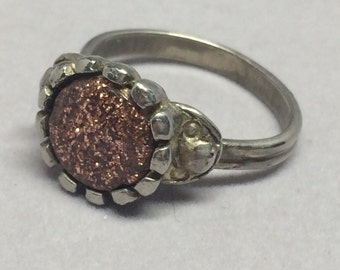 Vintage Gold Stone Ring Silver Tone Metal Adjustable Size