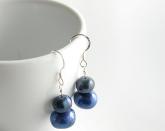 Handmade Sterling Silver Blue Freshwater Pearl Earrings - Bridal Earrings
